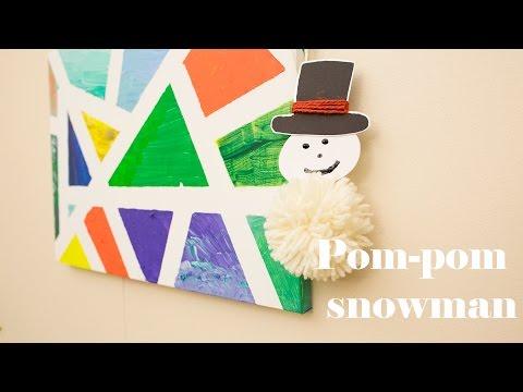 Pom-pom snowman with yarn and cardboard – 8th day of Christmas decor