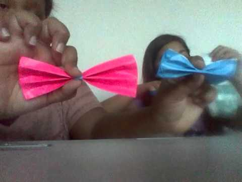 How to make simple. Duct tape bows