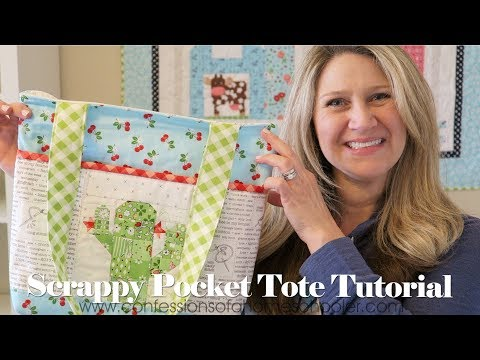 Quilted Scrappy Pocket Tote Bag Tutorial