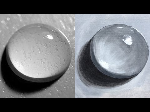 10 EASY steps for painting REALISTIC WATER DROP Acrylic BEGINNERS big art quest