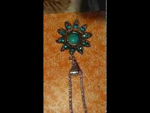 Jewelry Round Turquoise Pendant Crystal Flower Pattern Long Chain Necklace