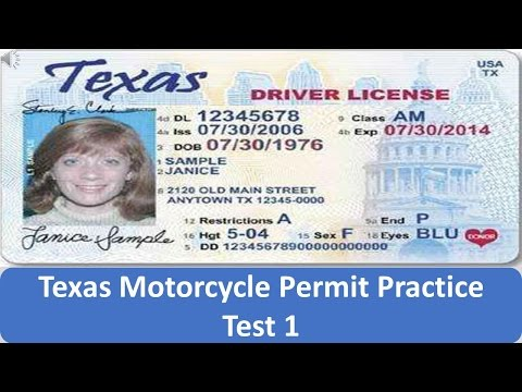 Texas Motorcycle Permit Practice Test 1