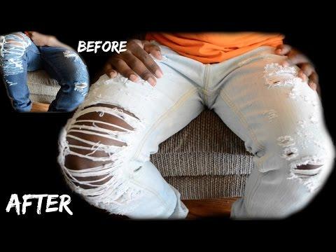 DIY - How to Lighten Denim Jeans Tutorial - dyrandoms