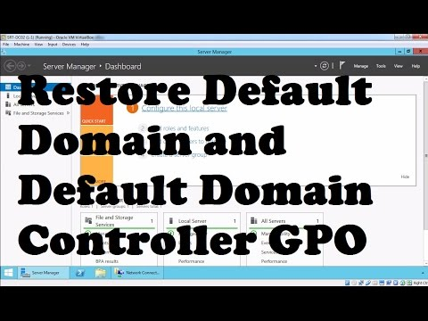 Restore Default Domain Policy and Default Domain Controller GPO