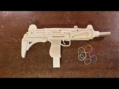 How to make a VERY EASY Full auto UZI [Rubberband Gun] - Free templates