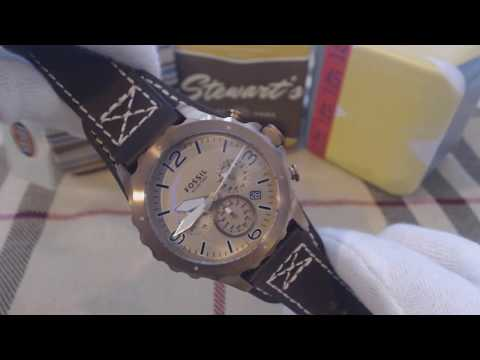 Fossil Nate Chronograph Brown Leather Strap Men's Watch JR1495