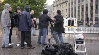 STREET PREACHING IN ENGLAND WHEN SERIOUS FIST FIGHT BREAKS OUT!!