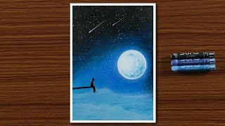 Download Easy Oil Pastel Drawing for Beginners - A Boy in Moonlight Night - STEP by STEP Video