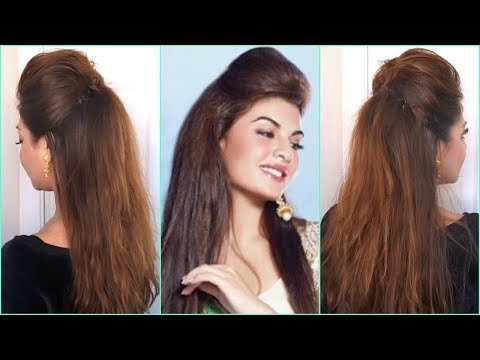 QUICK & EASY BIG PUFF HAIRSTYLE │HALF UP HALF DOWN HAIR TUTORIAL │ DIY BOLLYWOOD HAIRSTYLES  AT HOME