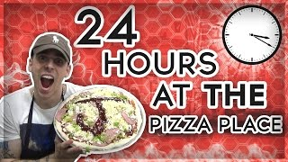 (COPS!!) 24 HOUR OVERNIGHT CHALLENGE AT A PIZZA PLACE // OVERNIGHT FORT CHALLENGE AT A RESTAURANT!