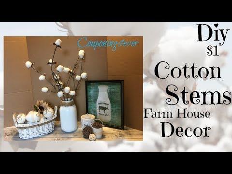 DIY COTTON STEMS | DOLLAR TREE DIY| FARM HOUSE DECOR