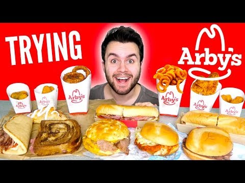 TRYING ARBY'S WHOLE MENU! - Meat Sandwiches, Curly Fries, & MORE Fast Food Mukbang Taste Test!