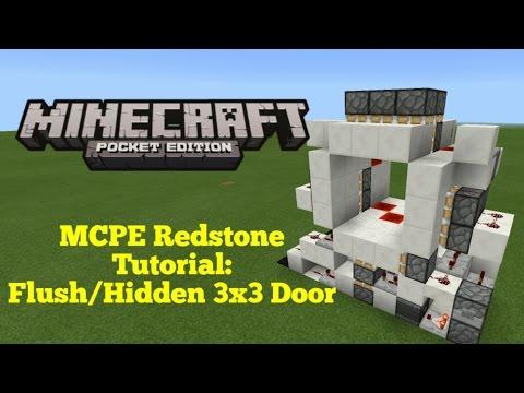 Minecraft Pocket Edition Redstone Tutorial: Flush/Hidden 3x3 Door  (Fix for 1.0.0 in comments)