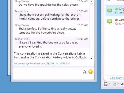 Lync 2010 | Viewing conversation history with Outlook 2010