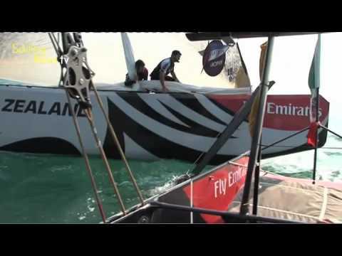 Grosse collision entre Emirates Team NZ et Mascalzone, Louis Vuitton Trophy