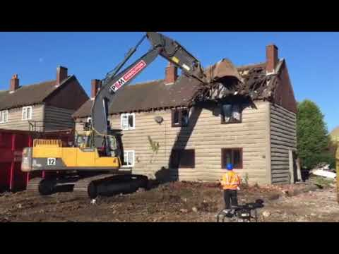 Demolition begins at Clifton Campville, Staffordshire