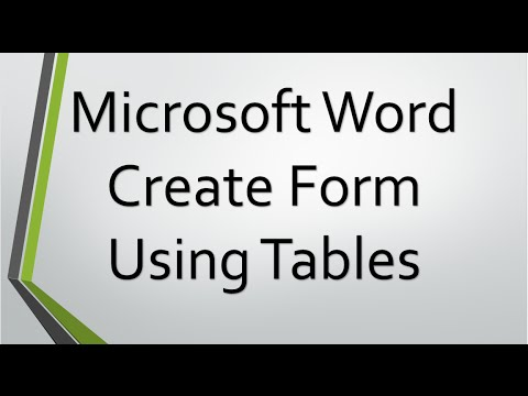 Create Form in Tables using Microsoft Word