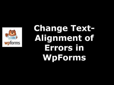 Method to Set Errors Text Alignment in WpForms