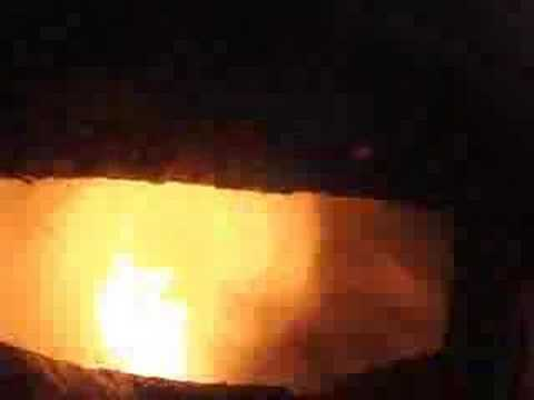 Inside a jet engine combustion chamber