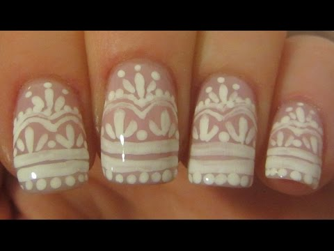 Elegant Bridal Lace Design in Subtle Pink and White Nail Art Tutorial