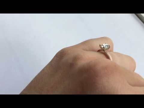 LILY ring in 14k rose. .74ct diamond. Size 7.