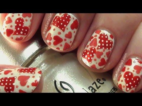 Easy Retro Polka Dot Hearts Nail Art | ArcadiaNailArt