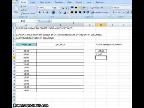 00009 - Design Your Own To Do List Using Microsoft Excel