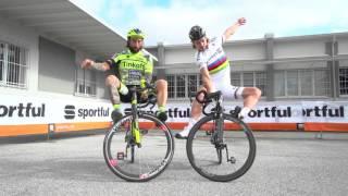 Sagan and Brumotti at Sportful - 30 Oct 2015