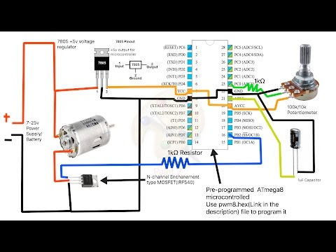 How to build a simple PWM DC Motor Speed Controller using ATmega8 microcontroller, MOSFET and POT