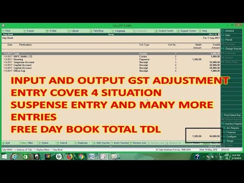 Tally Adjustment Entries - Input and Output Adjustment Entry,  Day book total Tdl