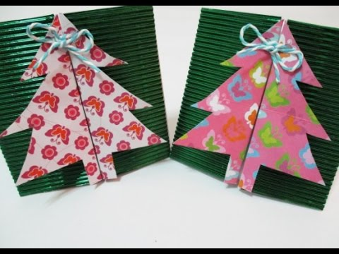 DIY : #113 Christmas Tree GIFT Box / Envelope ♥