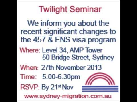 Twilight Seminar | 457 visa | Employer Sponsoring | Australia