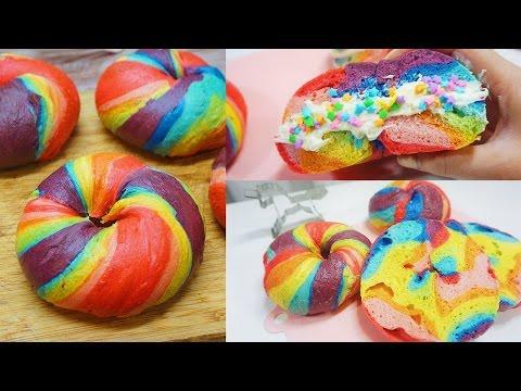 Unicorn Rainbow Bagels Recipe