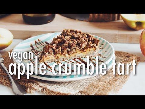 VEGAN SALTED CARAMEL APPLE CRUMBLE TART | hot for food