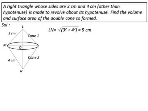 A right triangle whose sides are 3 cm and 4 cm is made to revolve about its hypotenuse.