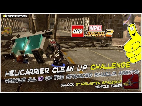 Lego Marvel Superheroes 2: Helicarrier Clean Up Challenge - HTG