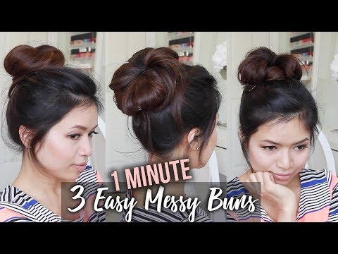 How to: MESSY BUN TUTORIAL | Quick & Easy Updo Hairstyles