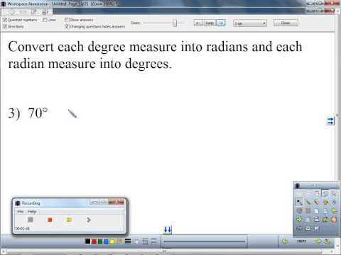 Convert each degree measure into radians and each radian measure into degrees