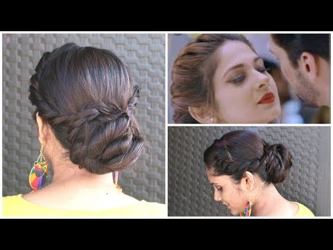 Easy Hairstyle For Durga Puja Inspired By Jenifer Winget | RopeTwisted Bun Hairstyle
