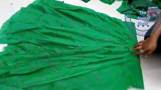 full length  umbrella cut green bandhani lehenga   hindi   part 2  stitching diy