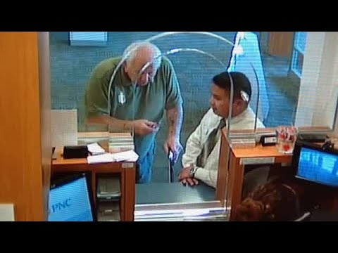 Surveillance Video: 77-year-old man with walker accused of bank robbery