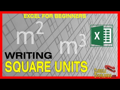 How to write square units - Microsoft Excel for Beginners