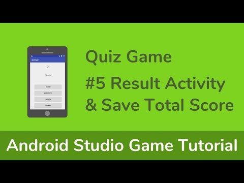 [Quiz Game] Java (Android Studio) Game Tutorial - #5  Result Activity & Save Total Score