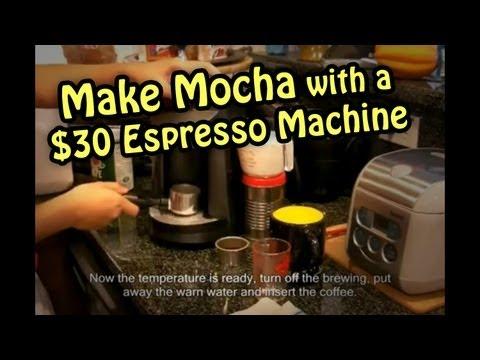 Make cheap Mocha with a $30 Espresso Coffee Machine ECM250 - 用便宜咖啡機做摩卡