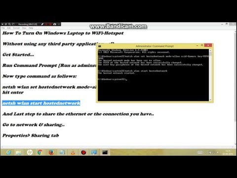 Turn On Windows PC/Lapop into WiFi Hotspot using CMD   2016  