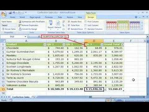 Excel 2007: Organize data using an Excel table