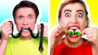 GUMMY FOOD vs REAL FOOD CHALLENGE | Eating Funky & Gross Impossible Foods by Ideas 4 Fun Challenge