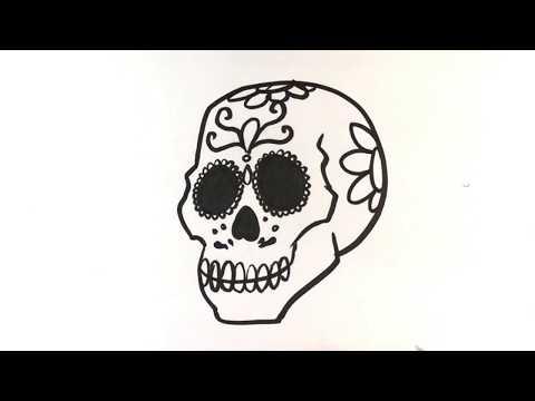 How to Draw Dia De Los Muertos Skull - Halloween Drawings