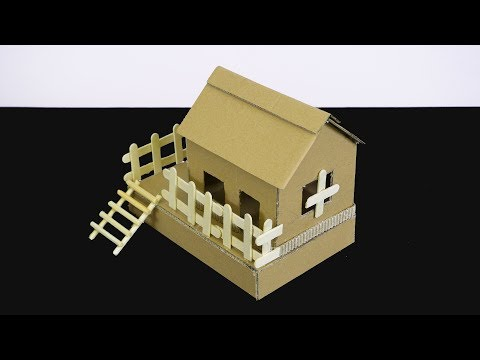 How to make cardboard house - paper crafts for kids