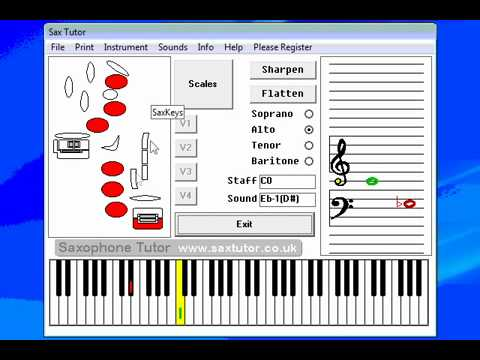 SaxTutor - Software based Saxophone Scales and Finger Chart